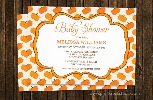 Pumpkin Pattern Baby Shower Invite