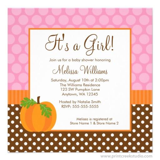 pumpkin polka dot fall baby shower invitations print creek studio