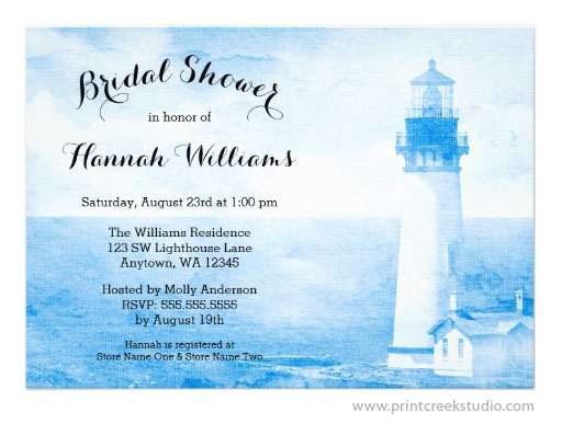 Rustic Lighthouse Bridal Shower Invitation