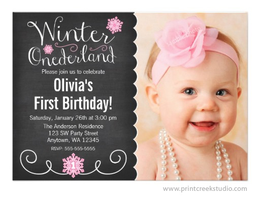 whimsical winter onederland photo first birthday invitation - Winter Onederland Party Invitations