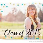 Gold and Teal Blue Confetti Graduation Announcements