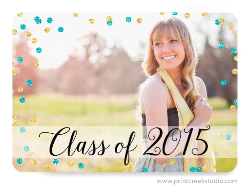 Confetti Photo Graduation Announcements