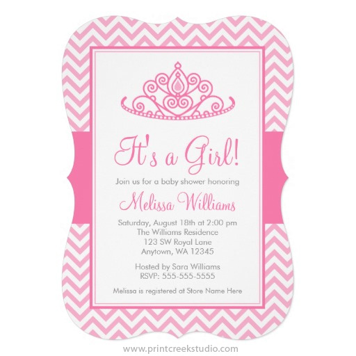 Chevron princess baby shower invitations print creek studio inc pink princess baby shower invitations filmwisefo