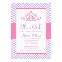 Purple Princess Baby Shower Invitations And Pink