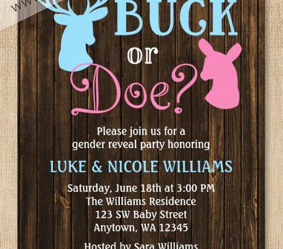 Buck or Doe Gender Reveal Invitations