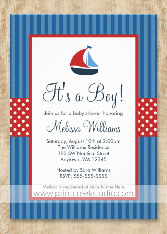 nautical baby shower invitations - print creek studio inc, Baby shower invitations