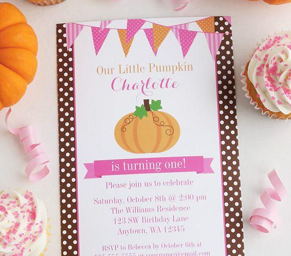 Little Pumpkin Bunting Girl Birthday Invitations