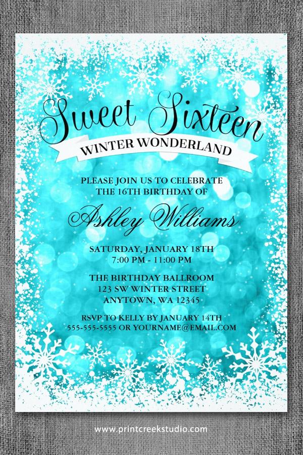 Sweet 16 Winter Wonderland Glitter Lights Invitations ...