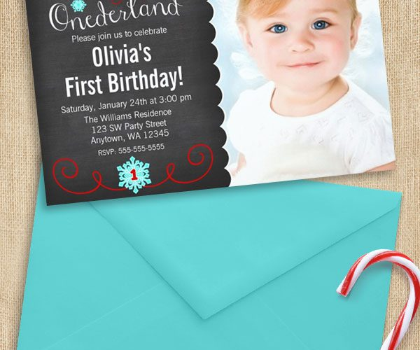 Red and Teal Winter ONEderland Photo First Birthday Invitations
