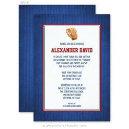 Navy blue and red baseball Bar Mitzvah Invitations.