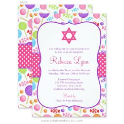 Cute Candy Bat Mitzvah Invitations