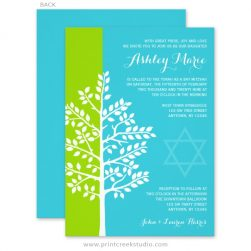 Green and Teal Tree of Life Bat Mitzvah Invitations