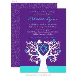 Purple and Teal Tree of Life Birds Bat Mitzvah Invitations