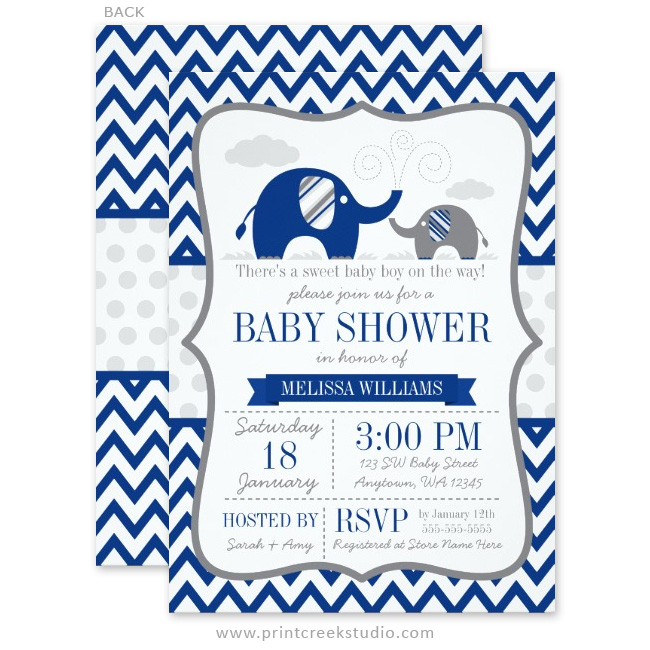 Navy Blue Gray Elephant Baby Shower Invitations - Print Creek Studio Inc