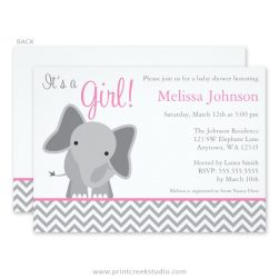Girl elephant baby shower invitations.