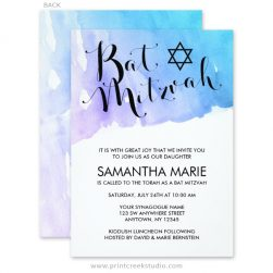 Modern watercolor Bat Mitzvah invitations.