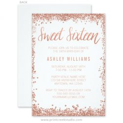 Rose gold glitter sweet 16 invitations.