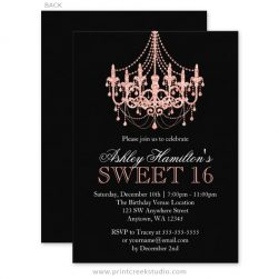 Rose gold sweet 16 invitations