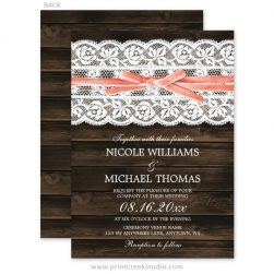 Rustic wood and lace wedding invitations.