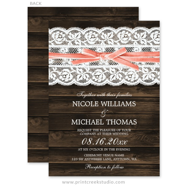 Rustic Barn Wood Lace Coral Ribbon Wedding Invitations