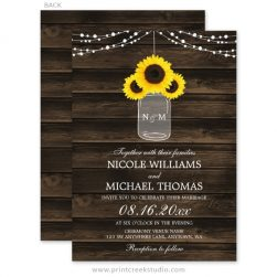 Sunflower mason jar wedding invitations