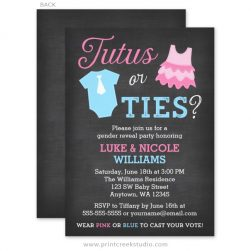 Ties or Tutus Gender Reveal Party Invitations