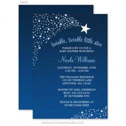 Blue twinkle twinkle little star baby shower invites.