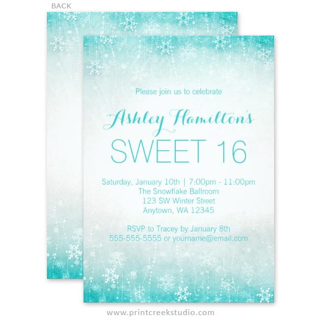 Vintage Sweet 16 Winter Wonderland Invitations Print