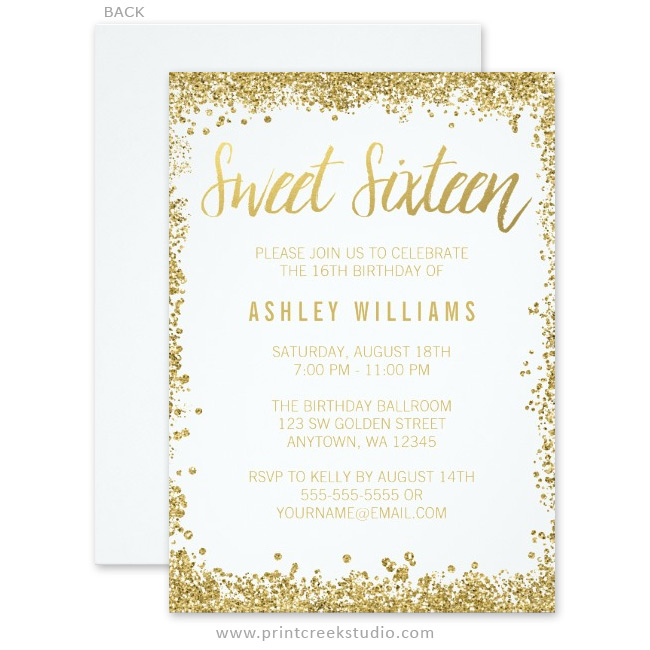 White and Gold Faux Glitter Sweet 16 Invitations - Print Creek Studio Inc