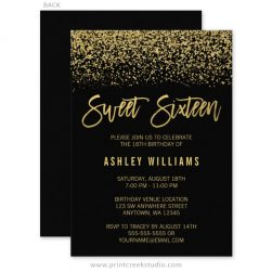 Black and gold sweet 16 birthday invitations