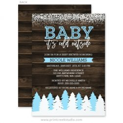 Rustic winter baby shower invitations