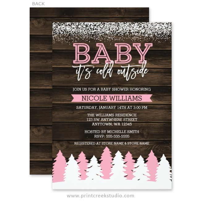 Baby It's Cold Outside Winter Girl Baby Shower Invitations ...