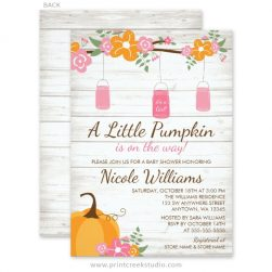 Mason jar girl fall baby shower invitations
