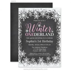 Girl winter onederland birthday party invitations.