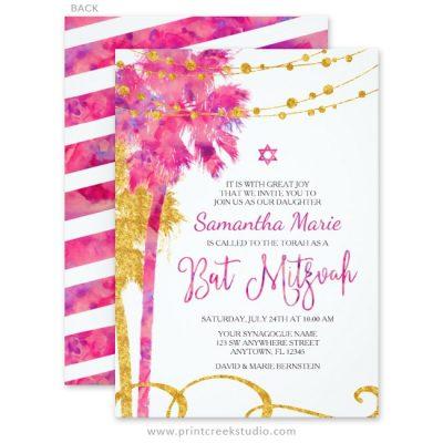 Beach themed Bat Mitzvah invitations