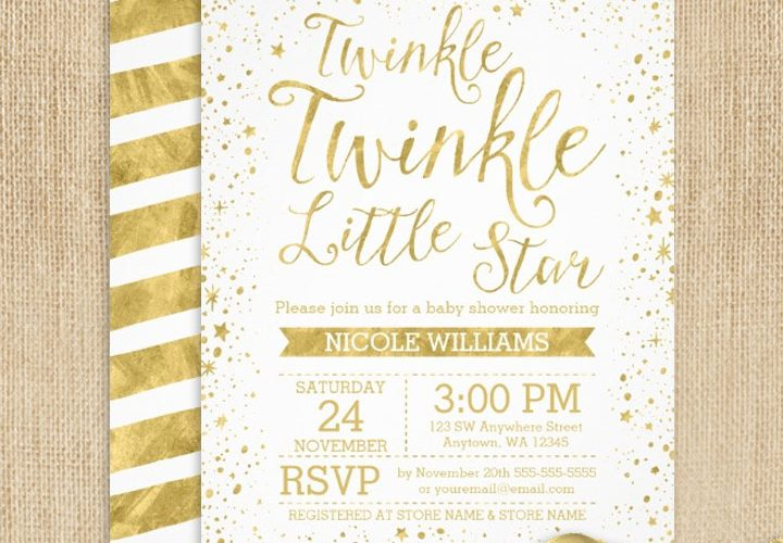 Gold Twinkle Twinkle Little Star Baby Shower Invitations