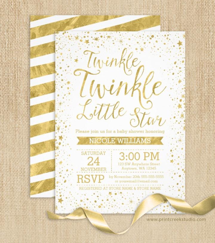 Twinkle twinkle little star baby shower invites