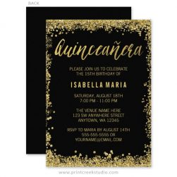 Gold glitter Quinceanera birthday invitations.