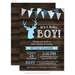 Boy deer baby shower invitations