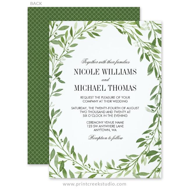 Green Watercolor Laurel Leaf Wreath Wedding Invitations