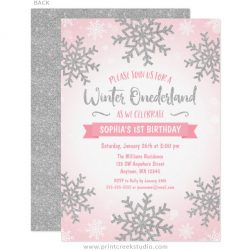 Pink and silver winter 1st birthday invitations