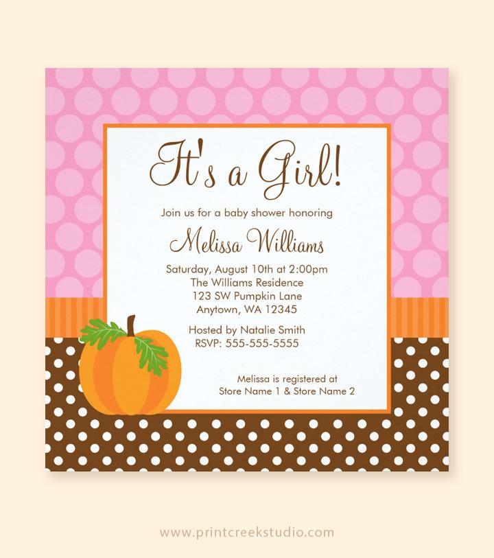 Pumpkin polka dot fall baby shower invitations print creek studio inc fall baby shower invitations for a girl filmwisefo