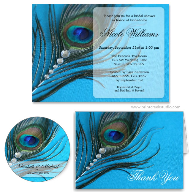 Jewel Peacock Feather Bridal Shower Invitation