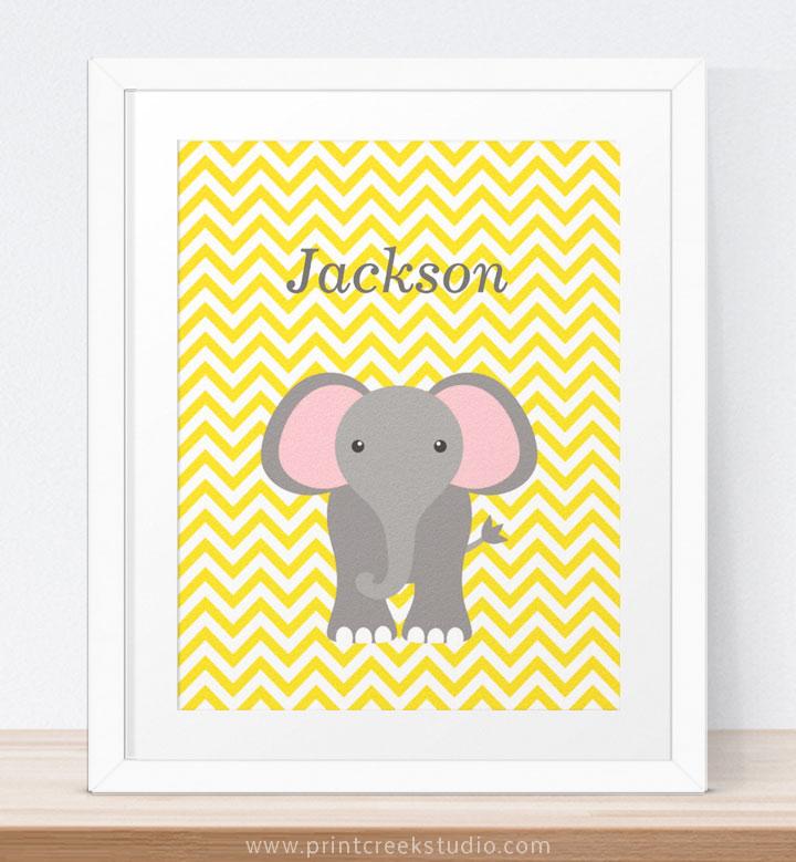 Elephant Nursery Wall Art For Girl or Boy - Print Creek Studio Inc