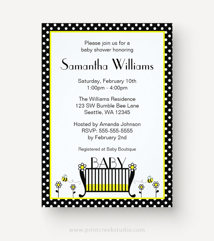Polka dot bee baby shower invitations
