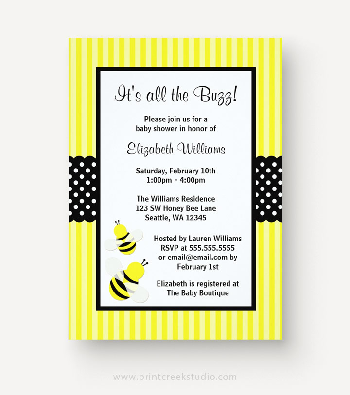 5 cute bumble bee baby shower invitations print creek studio inc bumble bee striped dots baby shower invitations filmwisefo