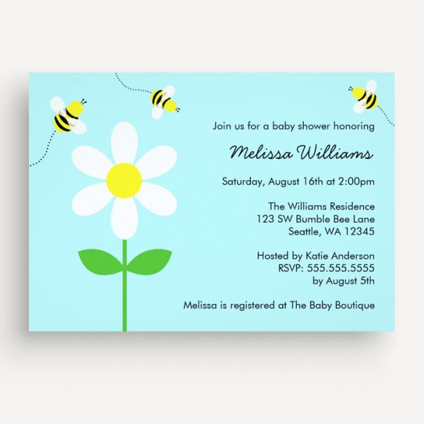 5 Cute Bumble Bee Baby Shower Invitations