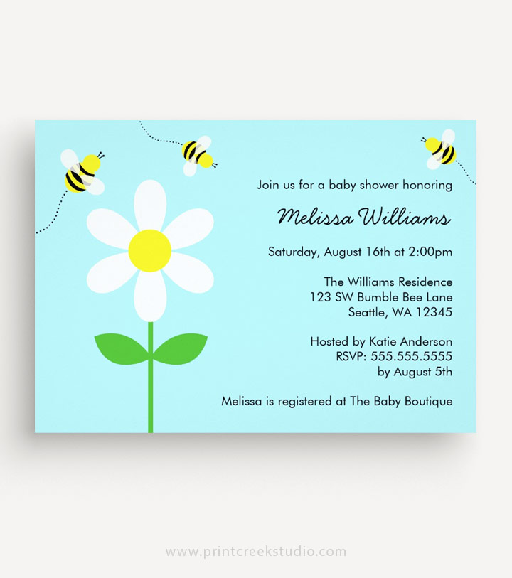 Bee baby shower invitations with a daisy flower