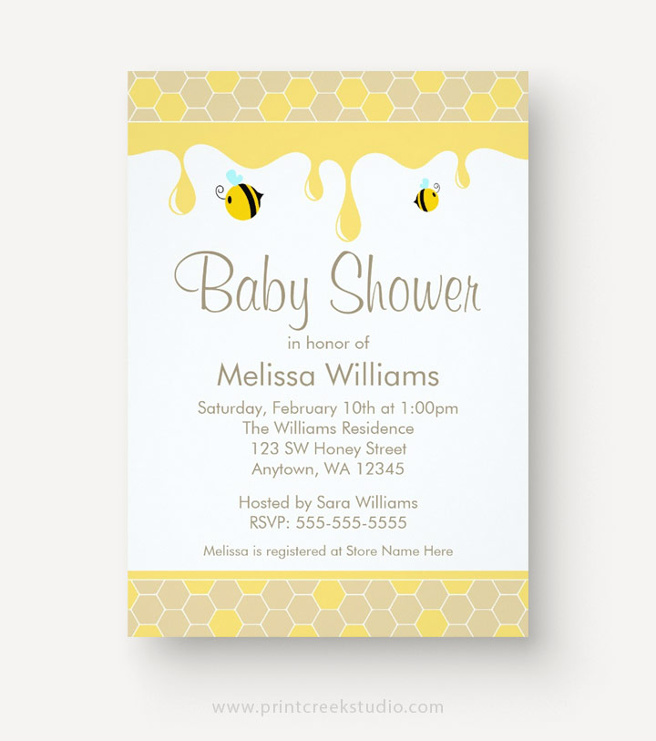 Bee baby shower invitations with honey comb.