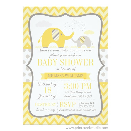 Mod yellow gray elephant baby shower invitation print creek studio inc yellow and gray elephant baby shower invitations filmwisefo